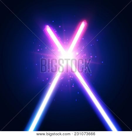 Abstract Background With Two Crossed Light Neon Swords Fight. Glowing Rays In Space. Crossing Laser
