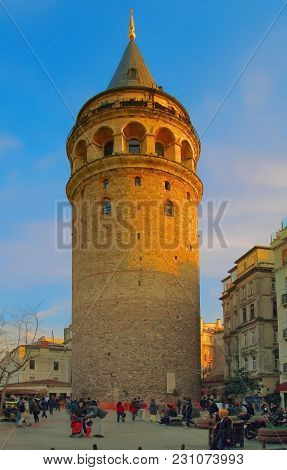 Istanbul, Turkey - March 25, 2012: Square At Tower Of Galata.