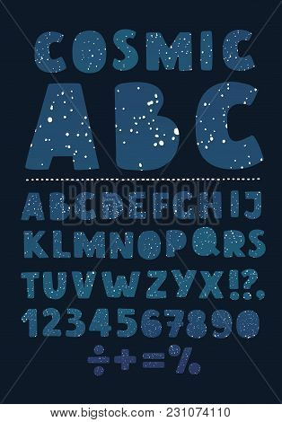 Vector Cartoon Abc Set Hand Drawn Letter6 Number And Decorated By Stars On Dark Sky Style. In The Ni