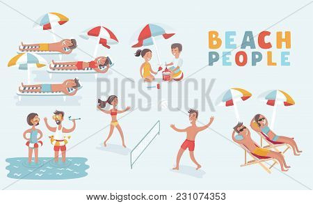 Vector Cartoon Illustration Set Of People Rest On Beach Set. Man Woman Children. Traveling Tourism L