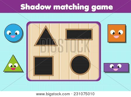 Shadow Matching Game For Children. Find The Right Shadow. Kids Activity With Geometric Shapes