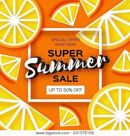 Lemon Super Summer Sale Banner In Paper Cut Style. Origami Juicy Ripe Limon Citrus Slices. Healthy F