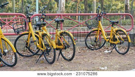 Tin shui wai, Hong kong, 10 February 2018:- Share bike in Hong Kong