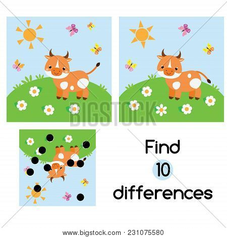 Find The Differences Educational Children Game With Answer. Kids Activity Sheet With Cow On Meadow.