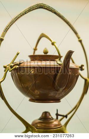 Vintage Retro Styled Bras Tea Pot On White Background
