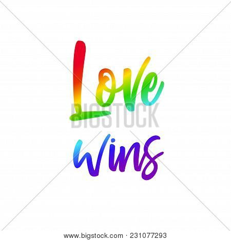 Lgbt Concept With Rainbow Flag And Lettering Against Homosexual Discrimination. Vector Hand Drawn
