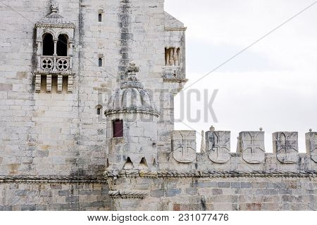 Wall Of The Belem Tower Torre De Belem On The Tagus River, Lisbon, Portugal