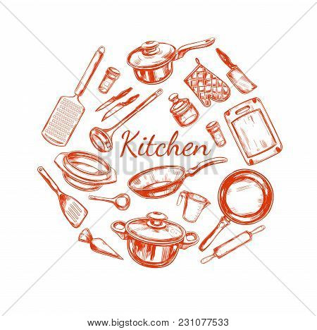 Cooking And Kitchen Utensil Set. Vector Hand Drawn Isolated Objects. Icons In Sketch Style