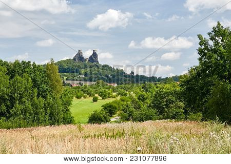 Czech Republic,sychrov - August 9, 2015: Fountain Near Neo Gothic Castle Sychrov. Castle (chateau) W
