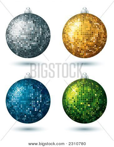 Four  Disco Balls, Vector Illustration
