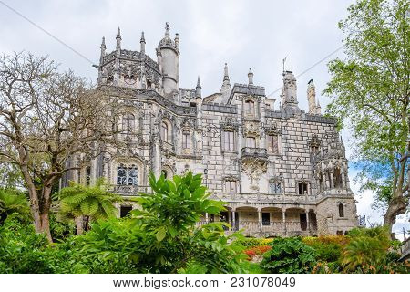 Neo-gothic Palace In The Park Of Quinta Da Regaleira. Portugal