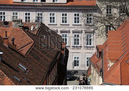 ZAGREB, CROATIA - APRIL 10: Facade of the old city building in city center of Zagreb, Croatia on April 10, 2015.