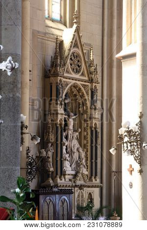 ZAGREB, CROATIA - APRIL 15: Altar of the Holy Cross in Zagreb cathedral dedicated to the Assumption of Mary in Zagreb on April 15, 2015.