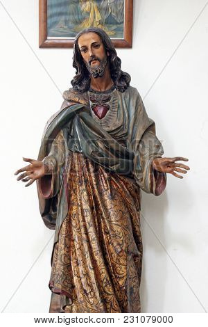 CARA, CROATIA - MARCH 22: Sacred Heart of Jesus, statue in the Saint Peter church in Cara, Korcula island, Croatia, on March 22, 2017.