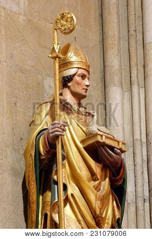 ZAGREB, CROATIA - MARCH 21: Saint Martin, statue in Zagreb cathedral dedicated to the Assumption of Mary in Zagreb on March 21, 2017.