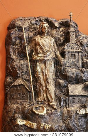 ZAGREB, CROATIA - MARCH 31: Saint James, relief in Chapel of Saint Dismas in Zagreb, Croatia on March 31, 2015