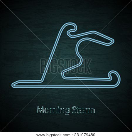 Black Gradient Background With Blue Neon Roat Race Track And Text