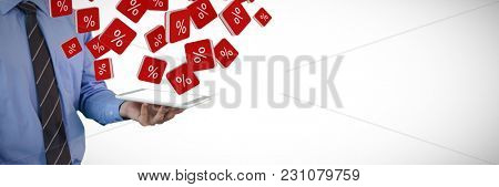 Mid section of businessman holding tablet PC against percent sign vector icon