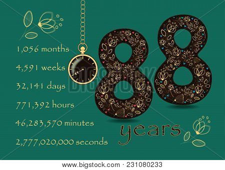 Time Counting Card. Number 88 And Pocket Watch