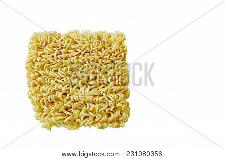 Dry Instant Noodles Isolated On White Background