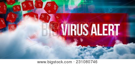 Digitally generated image of storm clouds against virus alert against blue technology design with binary code