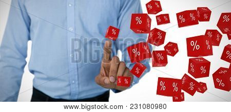 Mid section of businessman touching invisible screen against vector sign of percentage