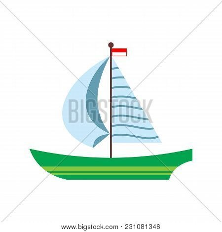 Yacht, Sailing Ship, Boat, Sailboat With A Striped Sail, Flat Cartoon Vector Illustration Isolated O