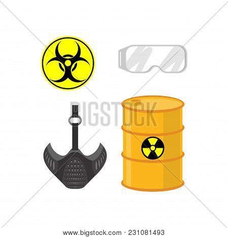 Chemical Emissions Set. Sign Of Biological Waste. Protective Gas Mask And Chemical Protection Glasse