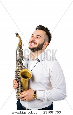 Saxophone Player Saxophonist With Sax Alto Jazz Music Instrument On White Background