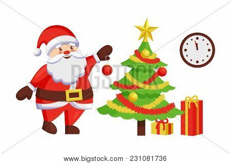 Santa Claus Decorates New Year Tree By Hanging Color Ball. Christmas Father And Winter Holiday Symbo