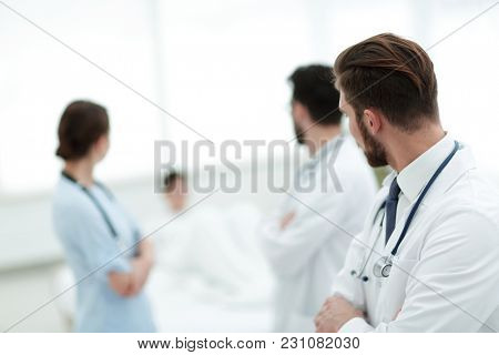 group of doctors in a medical office.