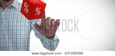 Man pretending to touch an invisible screen against white background against vector icon of percentage symbol