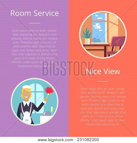 Room Service And Nice View Visualization With Housekeeper With Cleaning Stuff And Clean Neat Hotel R