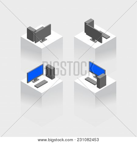 Isometric Pc Monitor Icon. Computer Technology Vector Sign