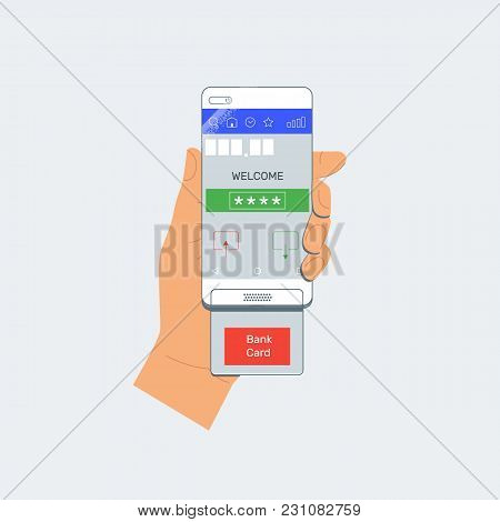 Payment By Credit Card Using Pos Terminal And Smartphone
