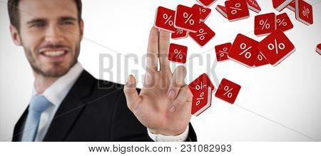 Happy businessman touching invisible screen against percent sign vector icon