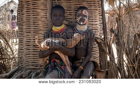 Omo Valley, Ethiopia, September 2017: Portrait Of Unidentified Karo Tribe Children In Colcho, Omo Va