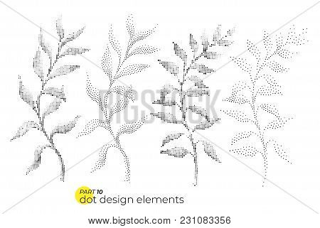 Universal Trend Dotty Leaves Set. Dotted Bright Bold Elements Composition. Plant Elements In Restrai