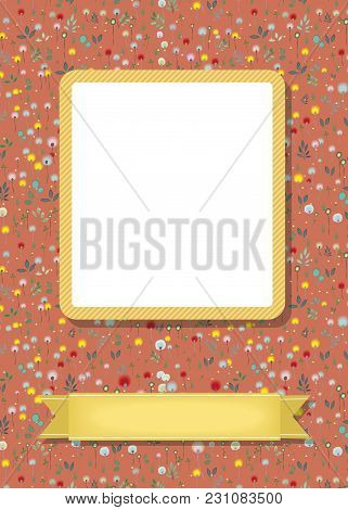 Floral Greeting Card. Graceful Blossoming Dandelions. Yellow Frame For Custom Photo. Yellow Banner F