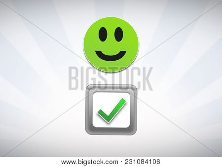 Digital composite of correct tick and smiley face