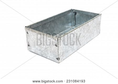 Box Made From Bending Metal Sheet Isolated On White Background