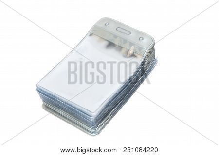 Stack Of Empty Plastic Id Card For Identification Tag Isolated On White Background