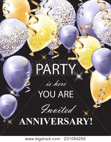 Happy Anniversary Card With Shinny Balloons. Festive Party Background Realistic Vector Illustration