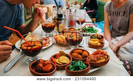 Palma De Mallorca, Spain - May 27, 2016: Tapas Set And Sangria In Traditional Spanish Cafe In Mallor