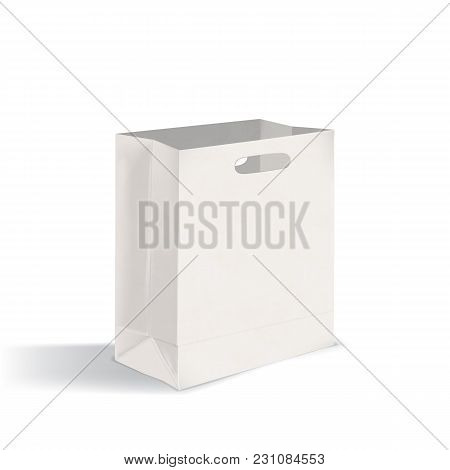 Open Blank Flat Bottom Takeout Paper Bag With Die-cut Handles. Clean Package Isolated On White Backg
