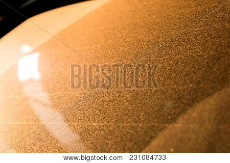 Golden Dust On Windshield Of A Car For Background