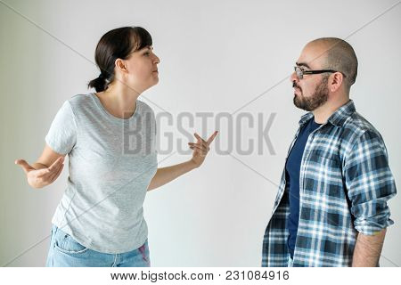 White couple having an argument