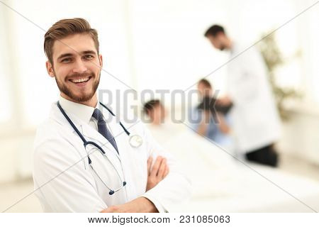 responsible doctor on the background of the chamber