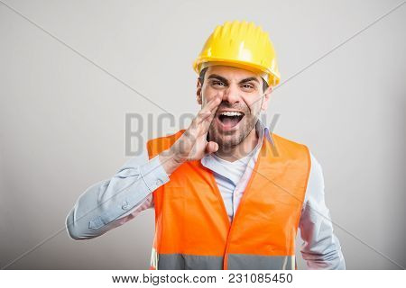 Portrait Of Attractive Architect Screaming Out Loud