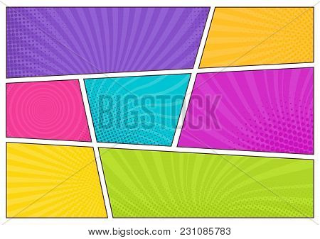 Blank Bright Colored Background Templates, Decorative Backdrops With Dotted Texture Or Boxes With Do